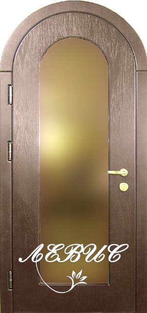 арочные входные двери с зеркальным стеклом